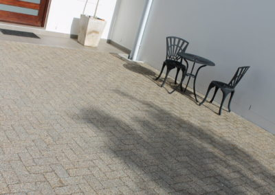 Paving at entrance - Exposed aggregate paver