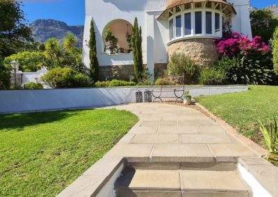Revelstone pathway pavers with tiled stairs